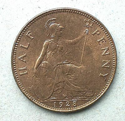 British - 1928 George V Half-Penny - Bright Uncirculated