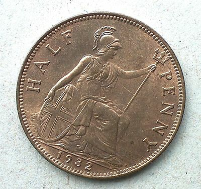 British - 1932 George V Half-Penny - Bright Uncirculated
