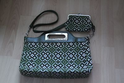 Vintage 70's Green pattern wool handbag and purse.