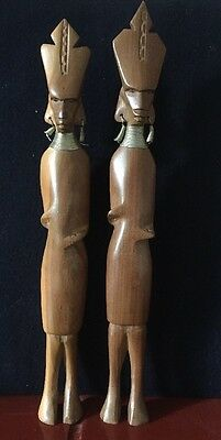 Pair African Tribal Art Carved Wooden Figures