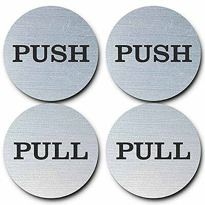 "2"" Round Push Pull Door Signs (Brushed Silver) 2 Sets (4Pcs) All Quality New"