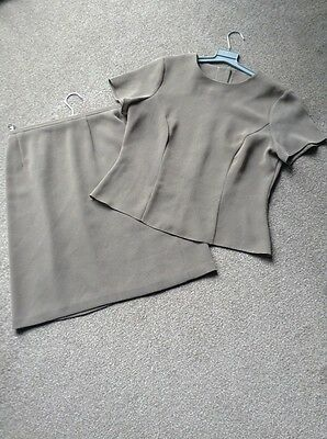 Vintage Lined Skirt & Short Sleeved Top Sze 14 Frm Bhs Camel Tiny Chcks & Detail