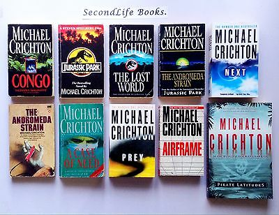 x9 MICHAEL CRICHTON Bulk Lot ~ Jurassic Park Andromeda Strain and More!