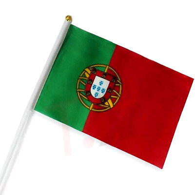 1 x  Portugal Flag -  National Flag Hand Waving Flag with Pole - Free UK P&P
