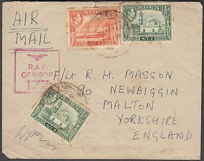 Aden Scarce Airmail Cover To Uk With 3 Value + Raf 177 Censor