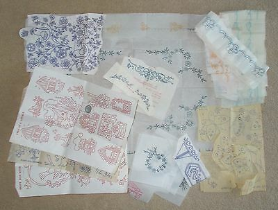 COLLECTION OF VINTAGE IRON ON EMBROIDERY TRANSFERS - small motifs and borders