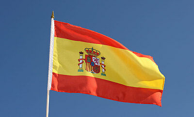 1 x  Spanish Flag -  National Flag -  Hand Waving Flag with Pole - Free UK P&P