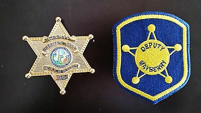 Andy Griffith TV Show Mayberry Deputy Sheriff Badge and Patch Set Prop Replica