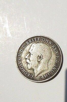 1921 King George V   Three 3 Pence England Great Britain Silver Coin
