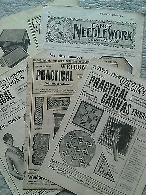 Collection of 5 Vintage Tapestry, crochet & embroidery Pattern Books Weldon's