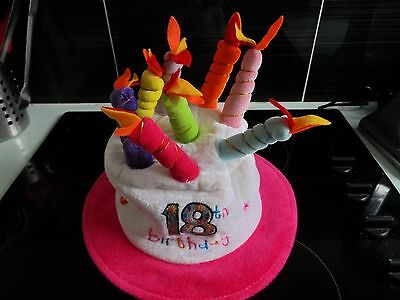 Musical 18th HAPPY BIRTHDAY NOVELTY PLUSH CAKE HAT WITH CANDLES PARTY HAT Pink
