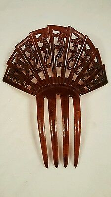 Vintage Celluloid Hair Comb Victorian Fan