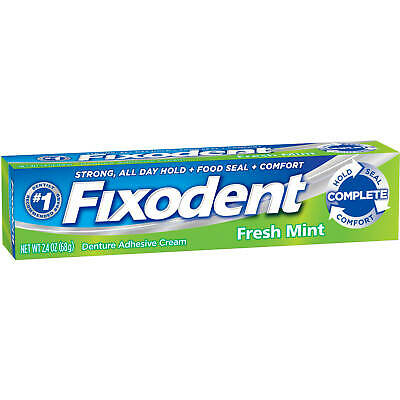 Fixodent Complete Fresh Mint Denture Adhesive Cream - 2.4 Ounce (Pack Of 3)