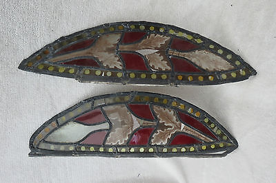 X2 Antique Stained And Painted Glass Panels