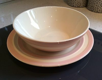 """T G Green Cornish Ware 9"""" Plate & 7"""" Bowl Baby Pink Cornishware Made In England"""