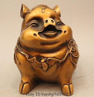"""8"""" Chinese Fengshui Bronze Fu Wealth Zodiac Year Pig Chiropter Statue Sculpture"""