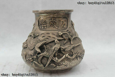 "7""Chinese Folk Pure Bronze Lucky excellent longevity magpie Pot jar Statue"