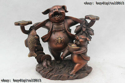 "5""Chinese Folk Feng Shui Bronze Every year more than Money drawing Two Pig Statu"