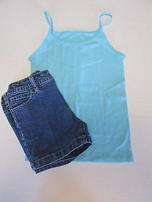 Justice & Fruit of the loom girls green tank top & denim shorts 2pc outfit 8 10