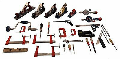 Lot of Modern Stanley Woodworking Tools - Planes, Clamps, Drills, Wrench, Saw