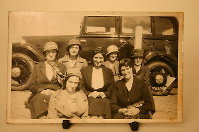 R.P. Postcard Group of Ladies in Hats Car in background Un-posted Blank