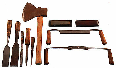 Working Set of Timber Framing Tools -Mortise Chisels, Draw Knives, Sgl. Bevel Ha