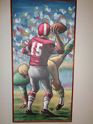 Antique oil painting on board signed Dunlop Football Players NFL circa 1960