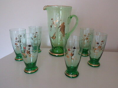 1960 Vintage green and gold glass water jug pitcher with 6 tumblers bird floral