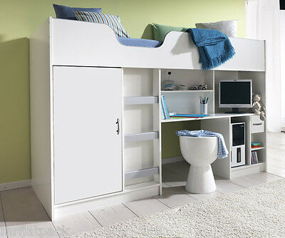 New Lifestyle High Sleeper Cabin Single Childrens Kids Bed White R140W