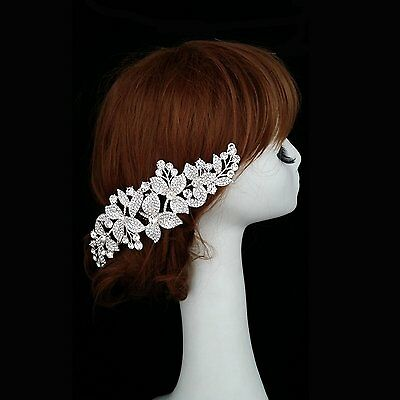 Sunshinesmile Bridal Wedding Prom Flower Silver Sparkling Hair Comb Jewelry