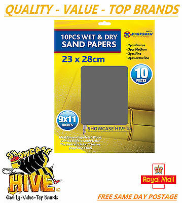 """Wet & Dry Assorted Emery Sand Paper Fine Extra Fine Medium Coarse Sheets 9""""x11"""""""
