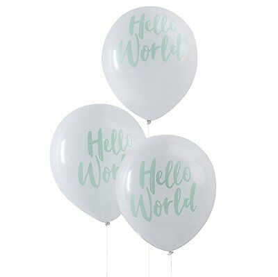 10 x HELLO WORLD BABY SHOWER BALLOONS UNISEX GENDER NEUTRAL DECORATIONS