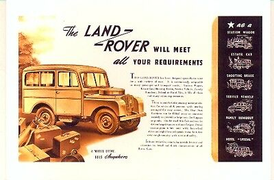 Land Rover Series 1 Tickford Station Wagon Modern postcard by Vintage Ad Gallery