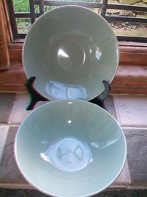 Vintage Poole Pottery Cameo Celadon cereal bowls X 2