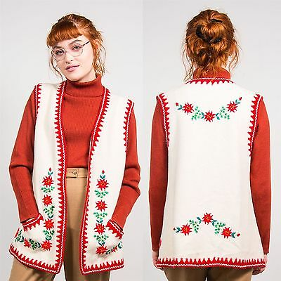 Vintage 70's Cream Floral Embroidered Wool Waistcoat Vest Hippie Boho Hippy 16