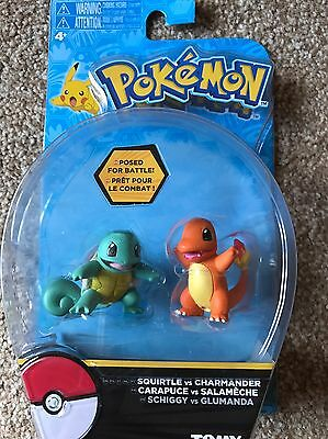 Pokemon Squirtle vs Charmander / Action Figures Posed For Battle! Rare New