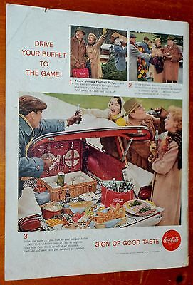 1958 Coca Cola Ad With Food In Ford Country Squire Wagon - Vintage 50S Coke