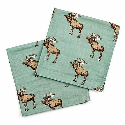 Milkbarn Bamboo Cotton Pack of 2 Burp Cloths - Bow Tie Moose