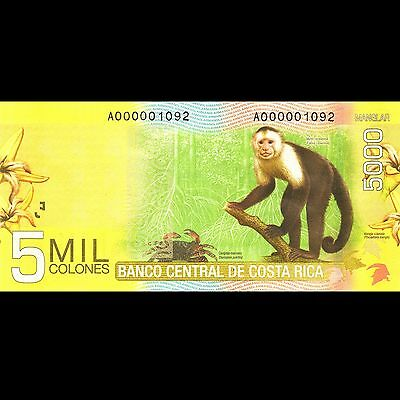 Costa Rica 5000 Colones UNC P-276 Low Serial A-000001092