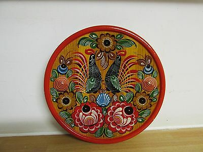 Vintage Russian Wooden Wall Plate Hand Painted Folk Art