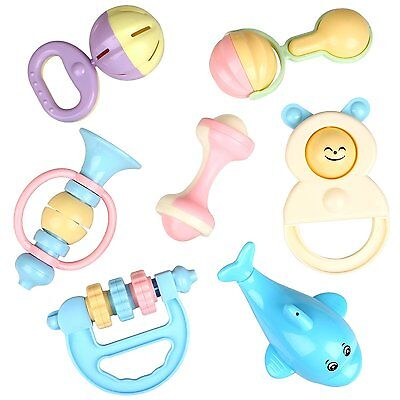 Peradix Baby Rattle Toys Set Toddler Nursery Hand Bell 7pcs