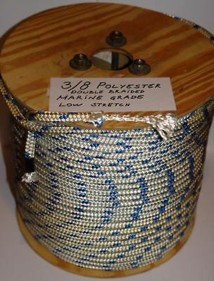 """Sailboat Rigging Rope 3/8"""" X 200' Double Braided Polyester With Blue Tracer"""