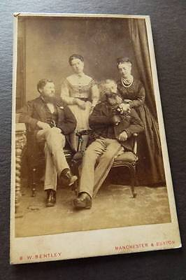 Lancashire MANCHESTER c1870s Family group - man with flowers by Bentley