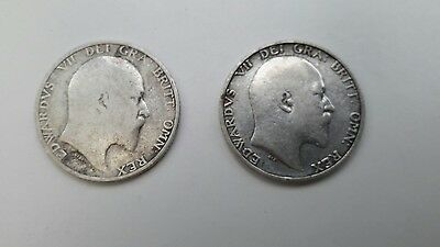 King Edward VII Shillings 1906 and 1910.