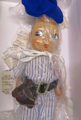 MIB Effanbee Petey Porcelain Boy Doll in Baseball Outfit with Glove and Cap