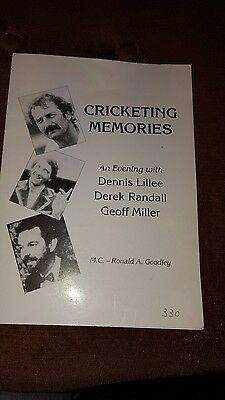 cricketing memories programme  autographed