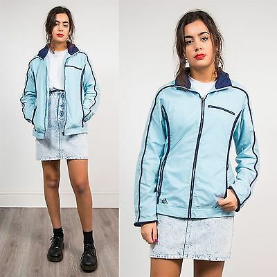 Adidas Baby Blue Casual Tracksuit Jacket Top Zip Fasten Shell Style Vtg 10 12