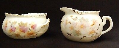 Antique China - Petite Open Sugar Bowl and Creamer Set / Hand Painted Porcelain