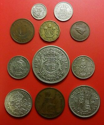 1937 George VI British Pre-Decimal Full Coin Set Inc 69gr Silver in Prot W Crown