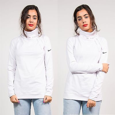 Nike Pro White Turtle Roll Neck Casual Long Sleeve Sweatshirt Jumper Top 14 16